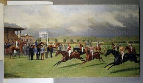 Horse race at the Freudenau, 1890 - Art Database